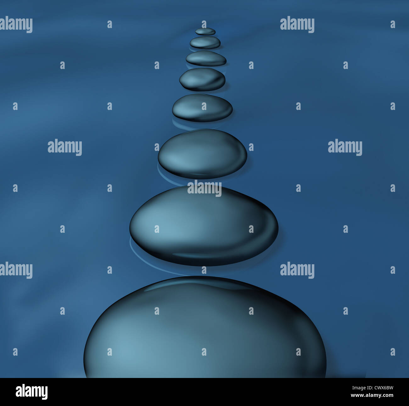 Stepping Stones With Smooth Rocks In Water As A Symbol Of