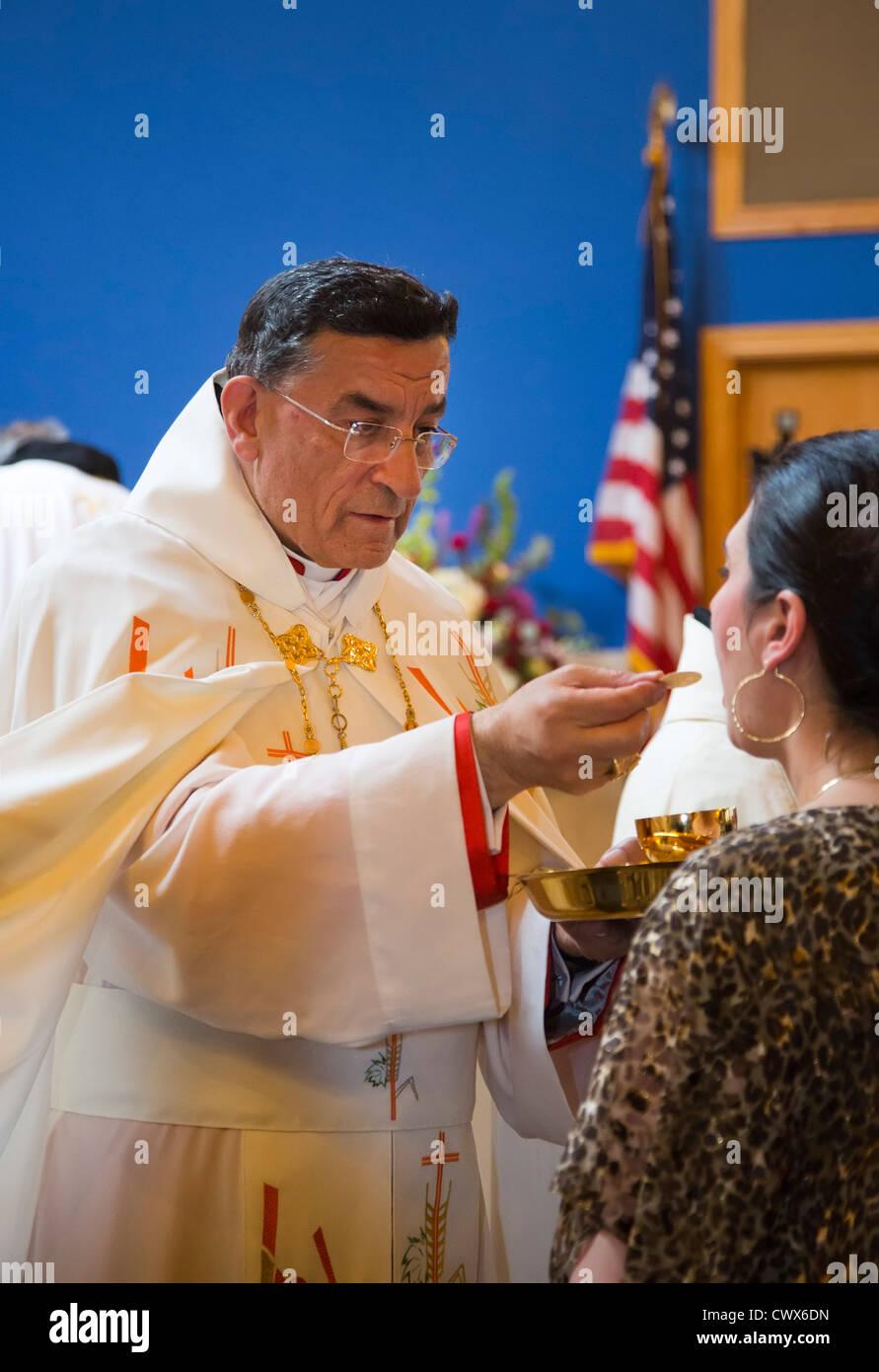 Celebration of the Divine Liturgy at St. Sharbel Maronite Catholic Church - Stock Image