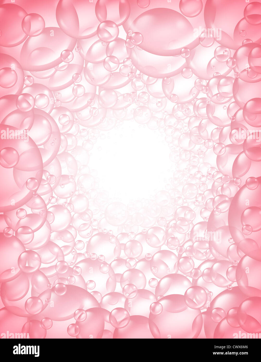 Pink bubbles in perspective background frame and transparent bath ...