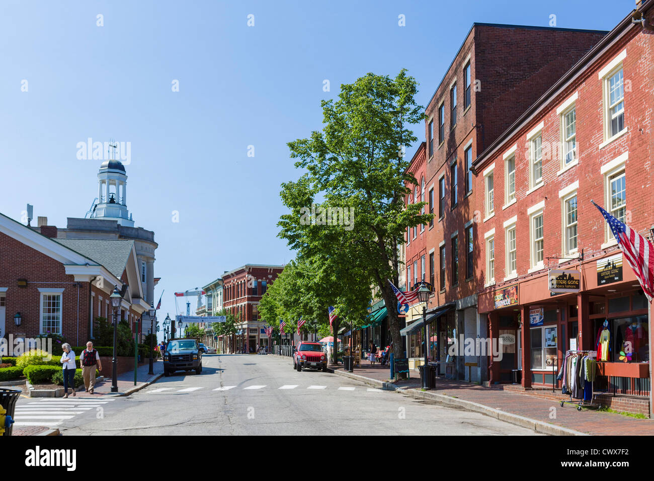 view down front street in the historic town of bath maine usa
