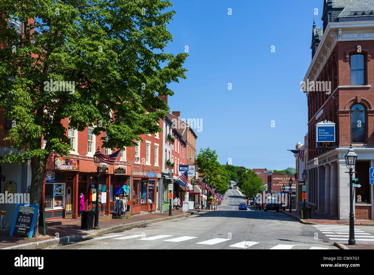 View down Front Street in the historic town of Bath, Maine, USA - Stock Image