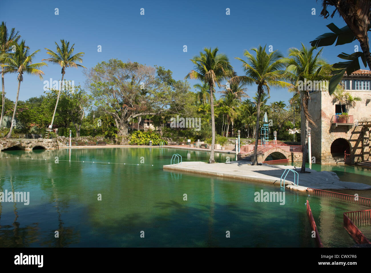 VENETIAN POOL MUNICIPAL SWIMMING POOL CORAL GABLES MIAMI FLORIDA USA - Stock Image