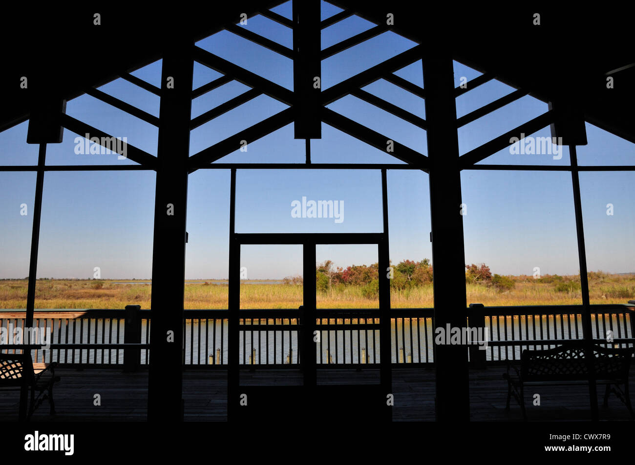 View through the window of the 5 Rivers Delta Resource Center - Stock Image