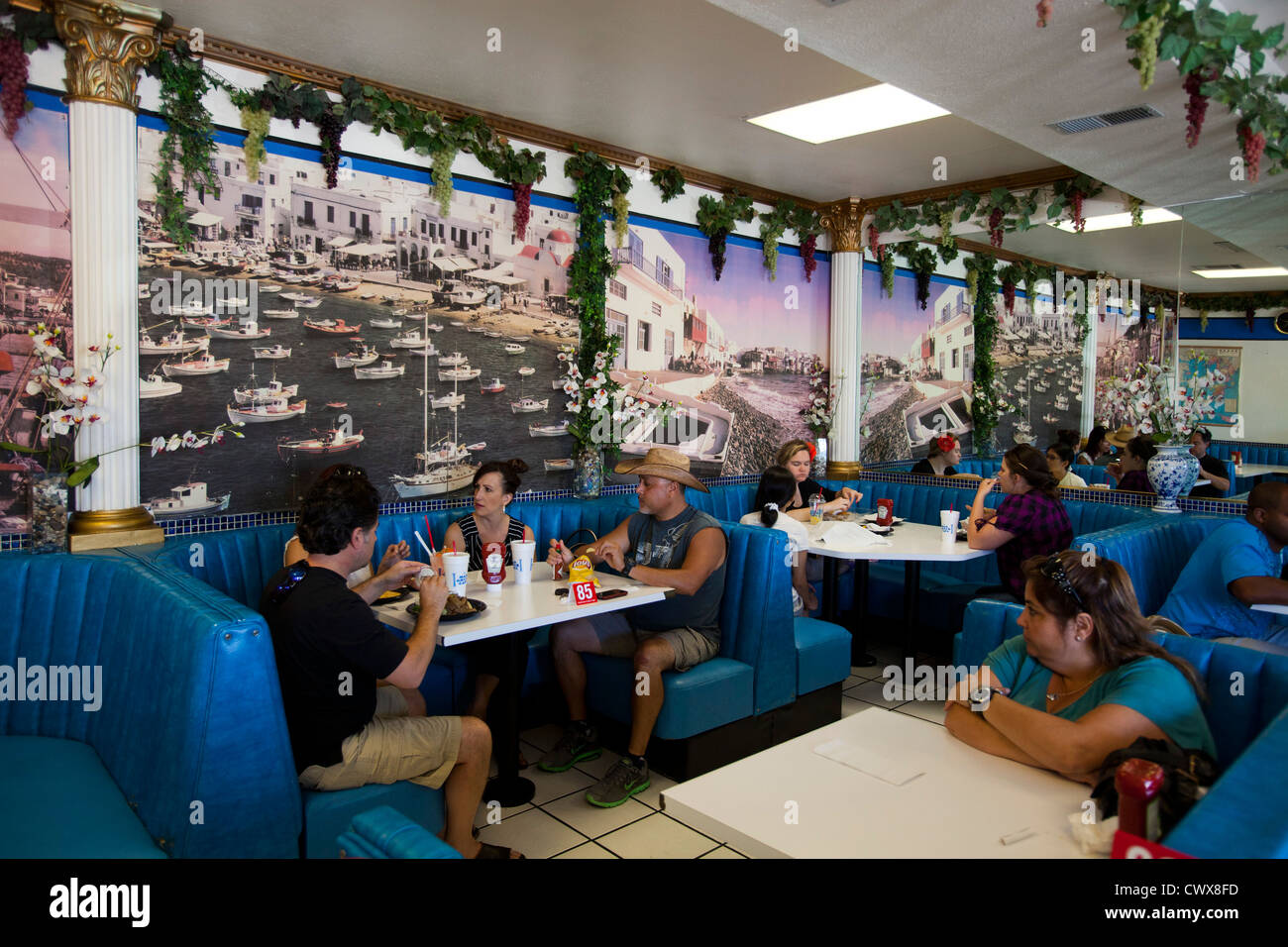 Mad Greek Restaurant, Baker, California, United States of America - Stock Image