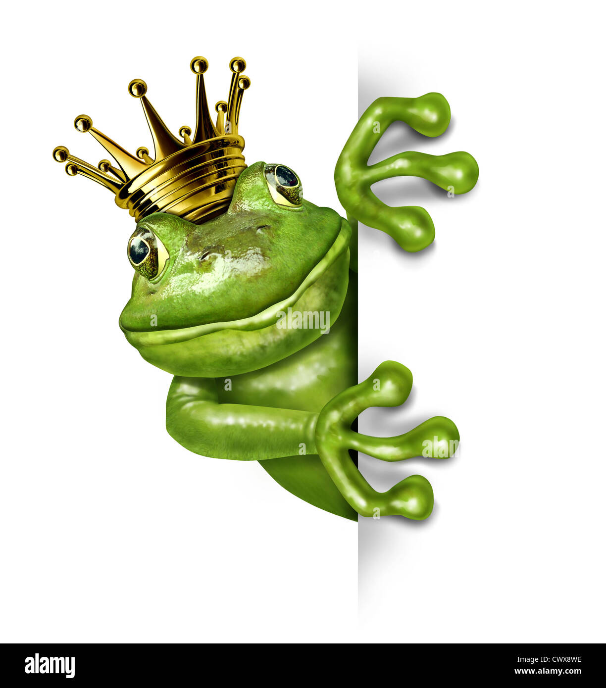 Frog prince with gold crown holding a blank vertical blank sign representing the fairy tale concept of change and - Stock Image