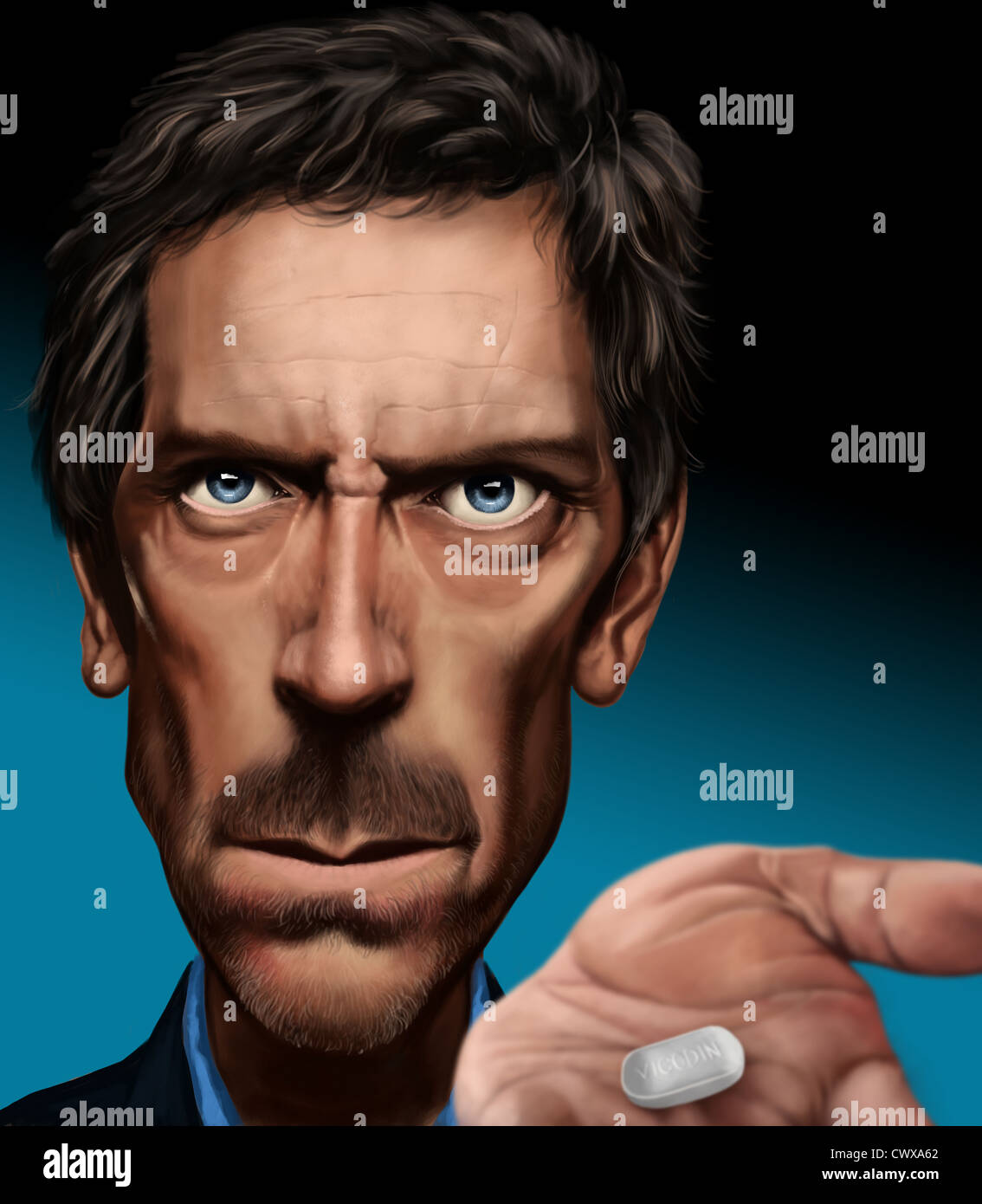 Caricature from actor Hugh Laurie, digital painted image - Stock Image