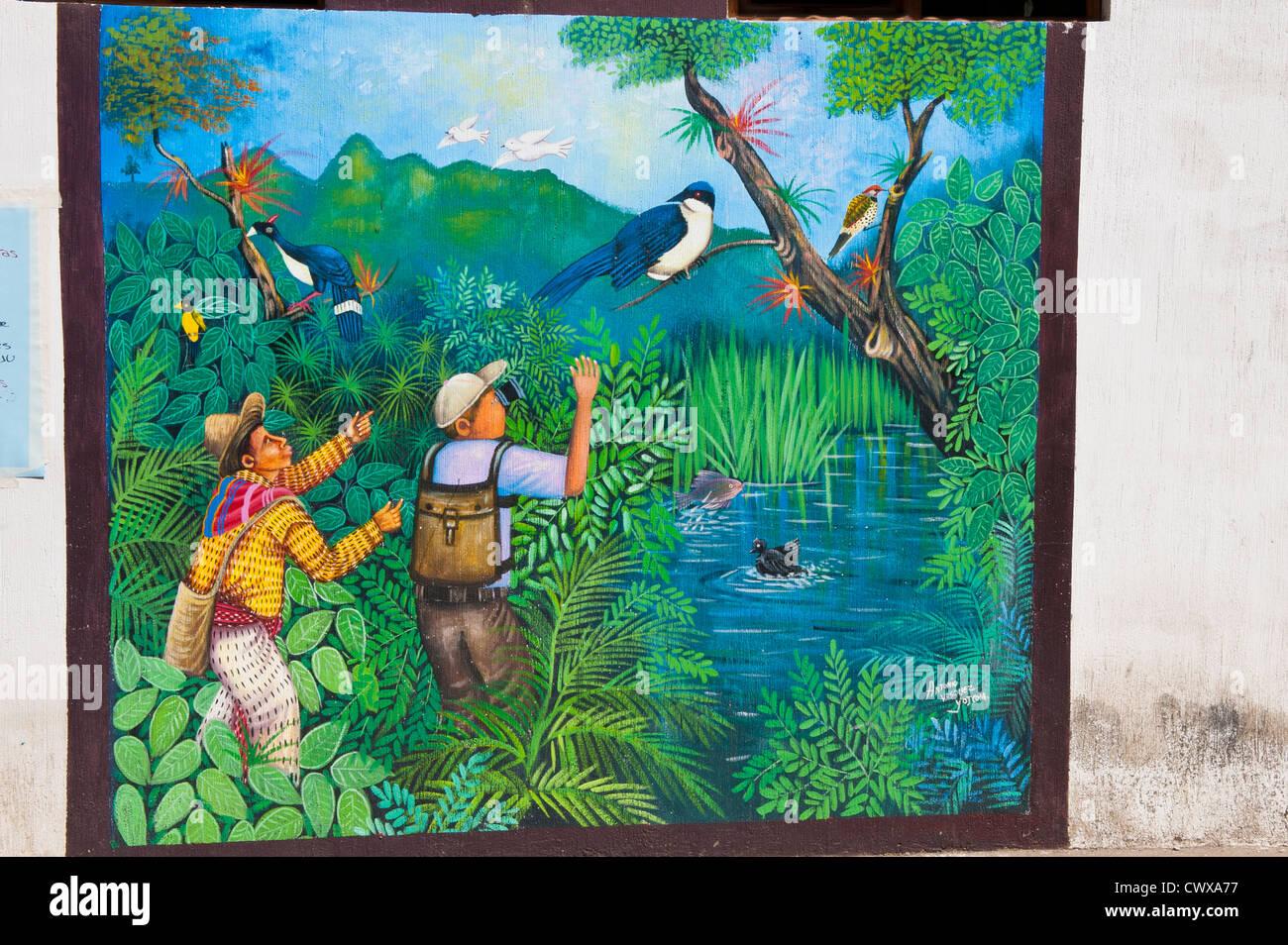 Guatemala, Santiago Atitlan. Wall mural artwork santiago atitlan lago de atitlan lake atitlan guatemala - Stock Image