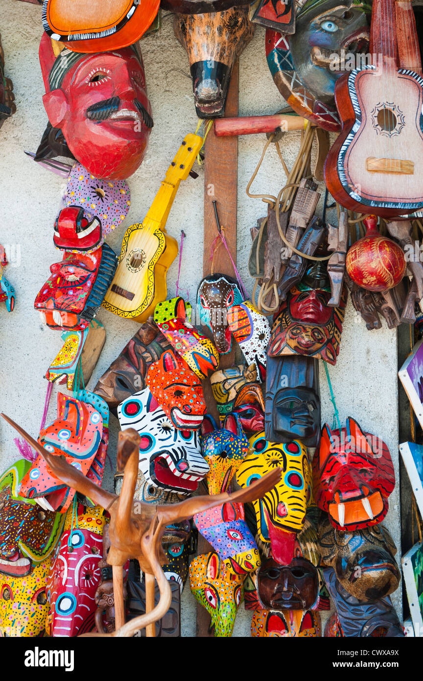 Guatemala, Santiago Atitlan. Souvenir shop with wood carvings and handicrafts Santiago Atitlan, lake atitlan, Guatemala. - Stock Image