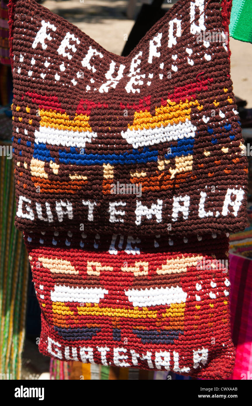 Guatemala, Santiago Atitlan. Souvenir cloth bags in Santiago Atitlan, lake atitlan, Guatemala. - Stock Image