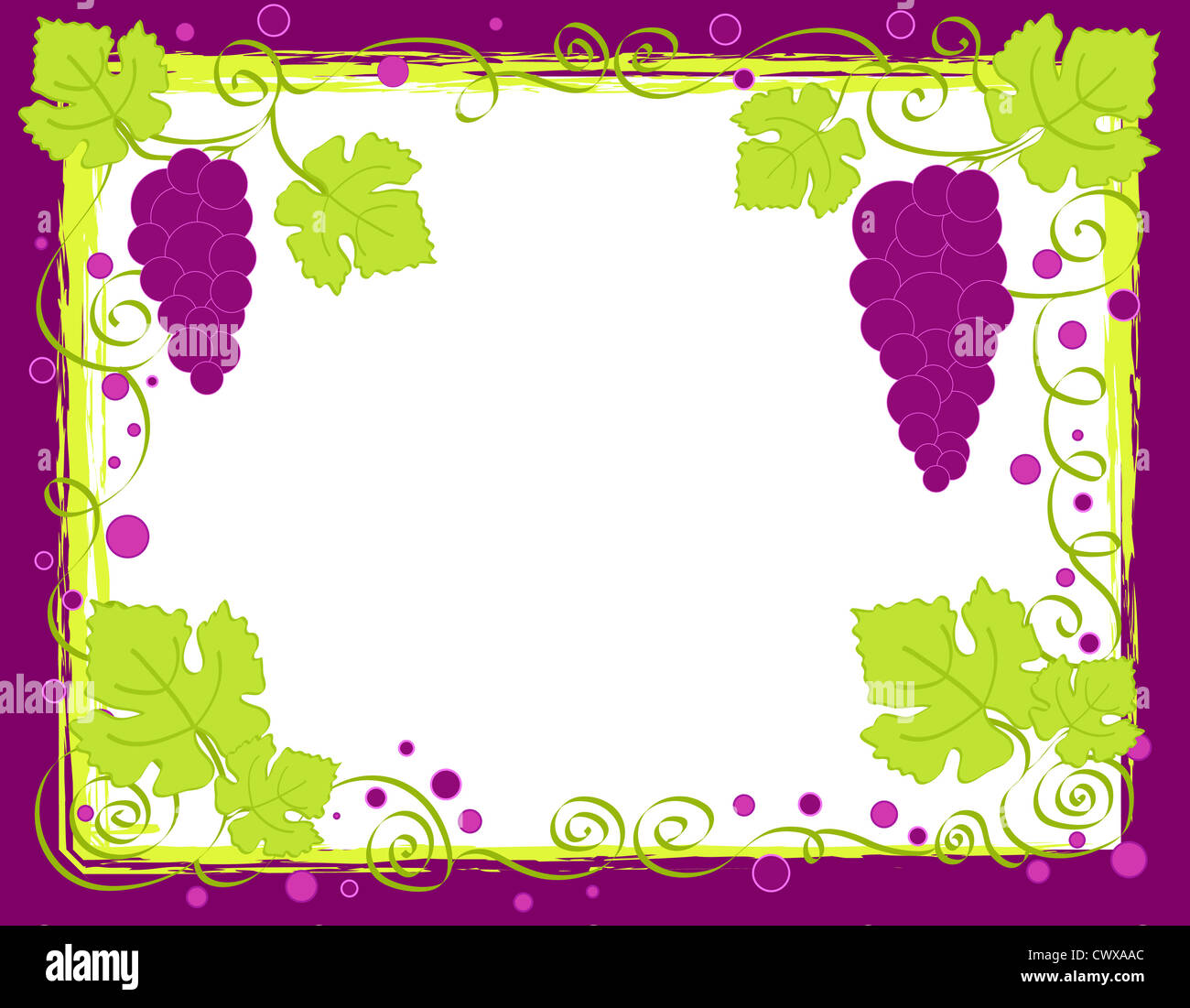 Purple grapes and leaves frame Stock Photo