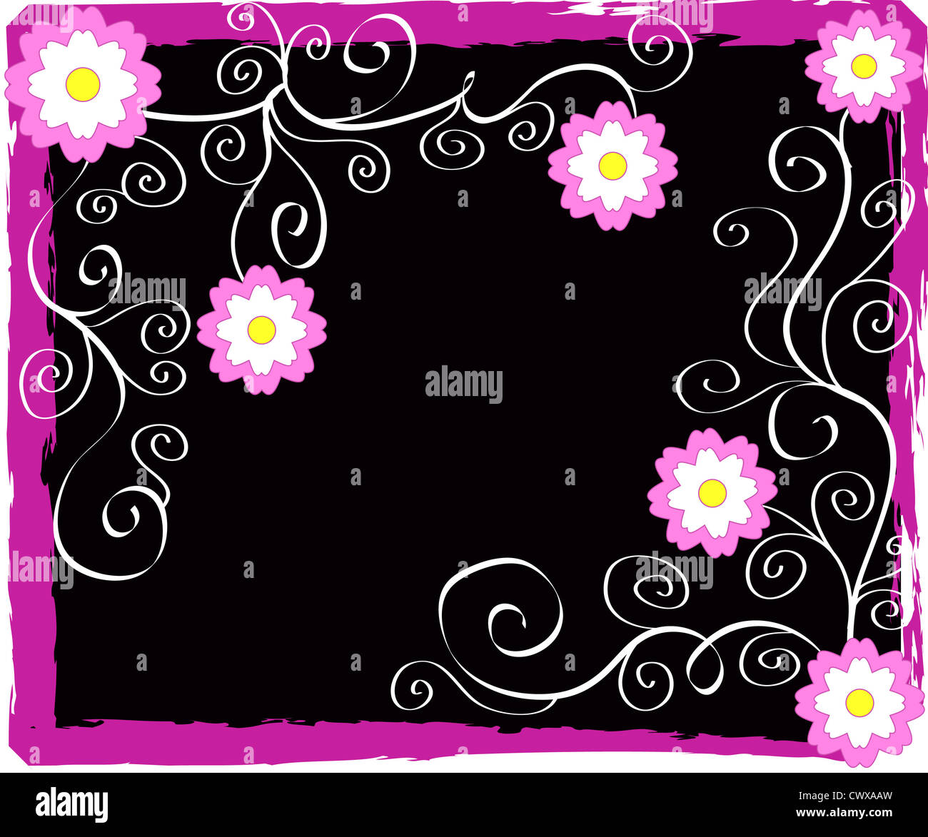 Artistic flowers frame on black Stock Photo