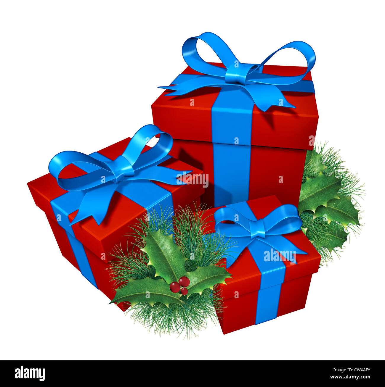 Christmas gifts with pine holly showing red presents and blue silk ...