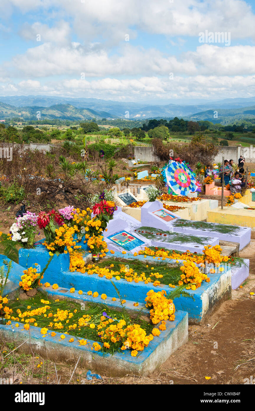 Guatemala Graves Flowers Day Of The Dead Cemetery Stock Photos