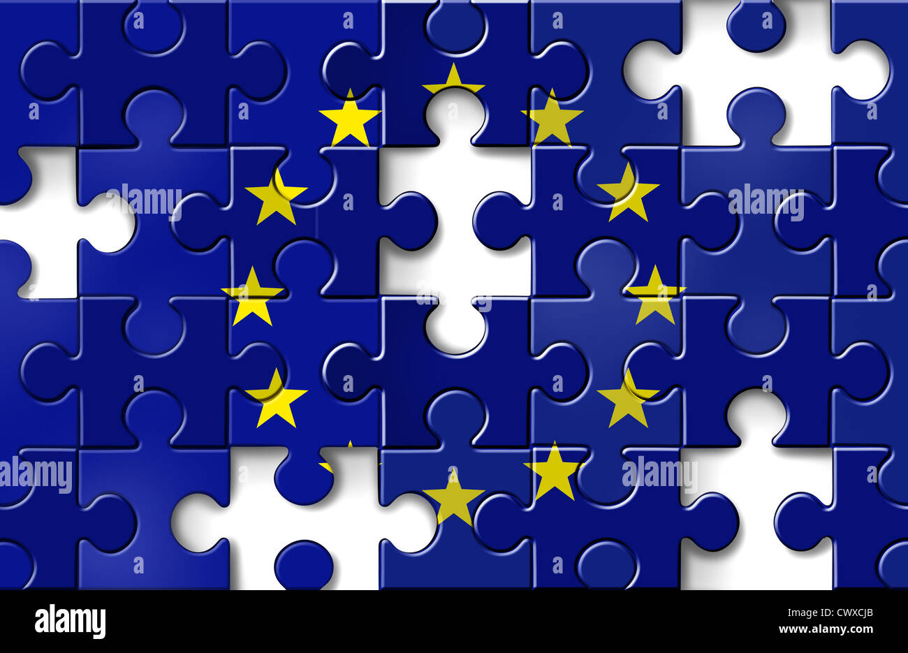 Europe crisis with the European flag in a jigsaw puzzle with peices missing as a financial crisis that needs banking - Stock Image