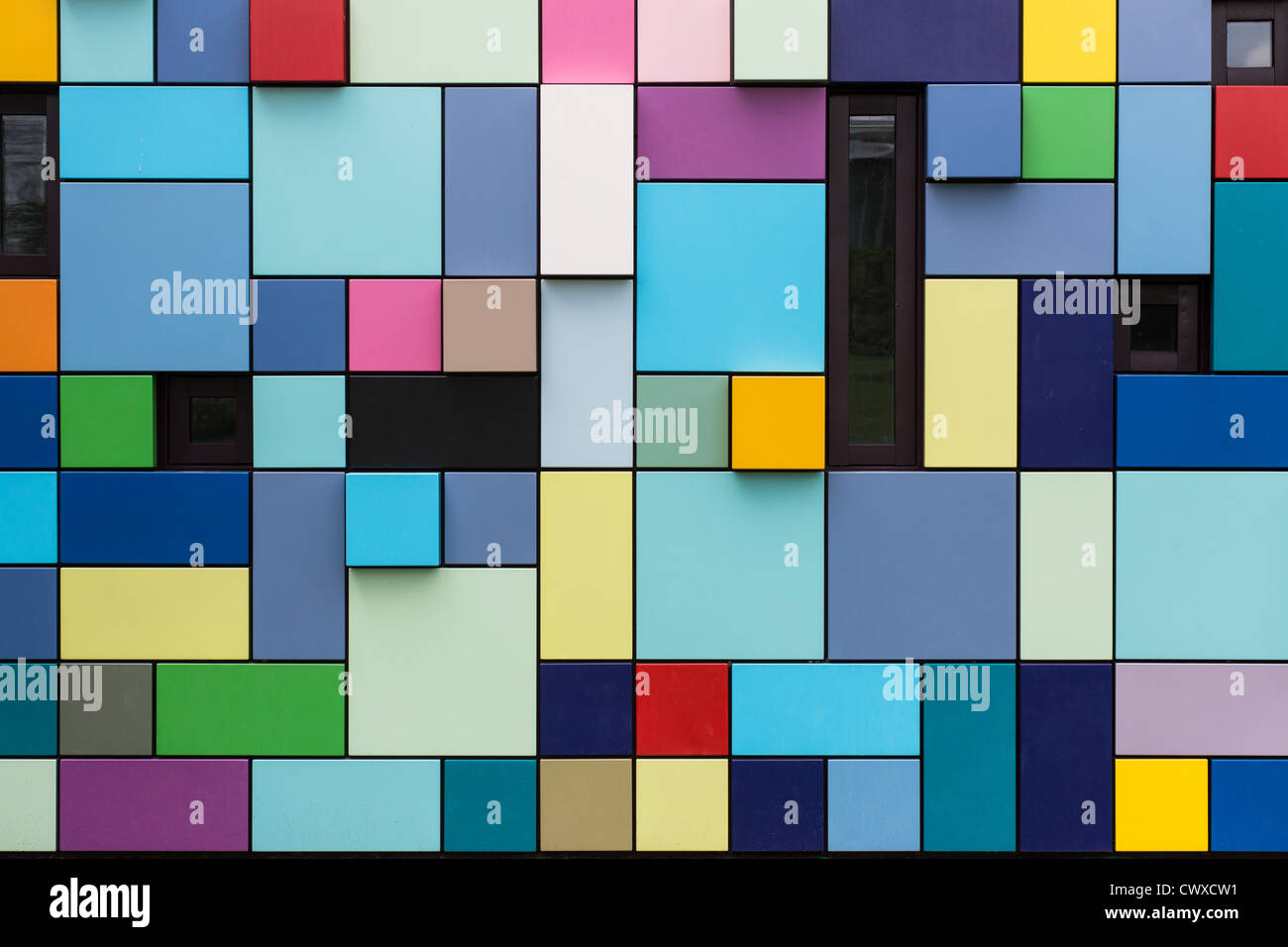 Colorful public art boxes on Houston\'s Discovery Green. The multi ...