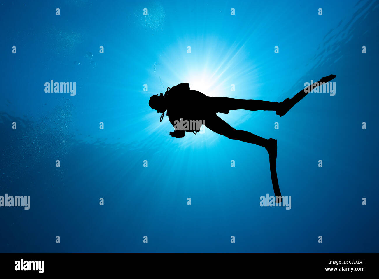 Silhouette of a SCUBA diver with a bright sunburst behind in clear blue water - Stock Image
