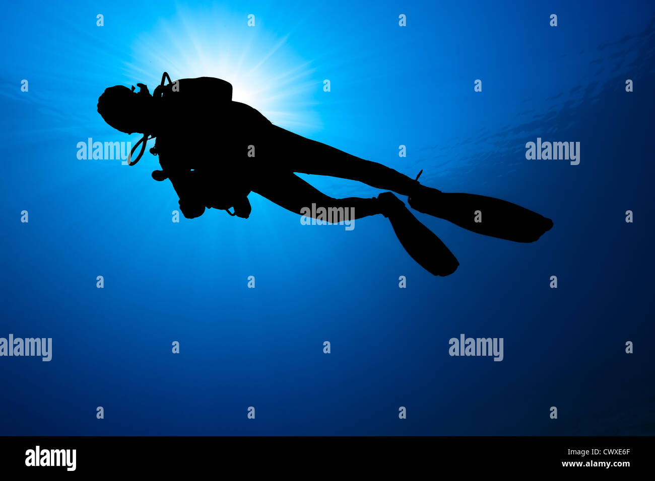 Silhouette of a SCUBA diver in blue water with a sunburst behind - Stock Image