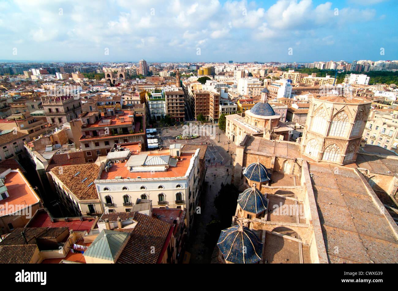 View of Plaza de la Virgen taken from El Miguelete, Valencia, Spain Stock Photo