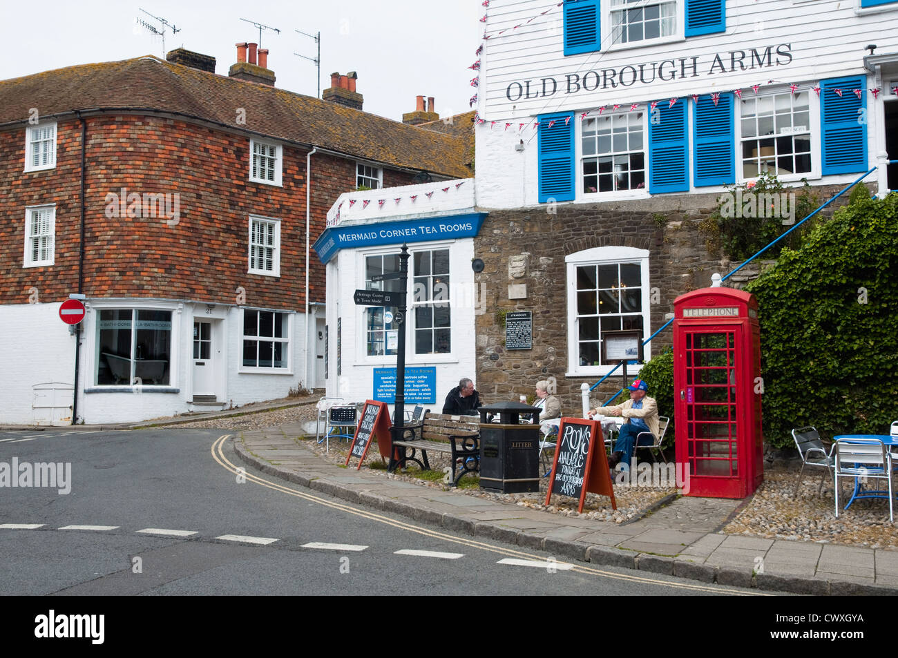 The Mermaid Cafe, and Old Borough Arms (pub / inn) at Rye, Sussex, UK. - Stock Image
