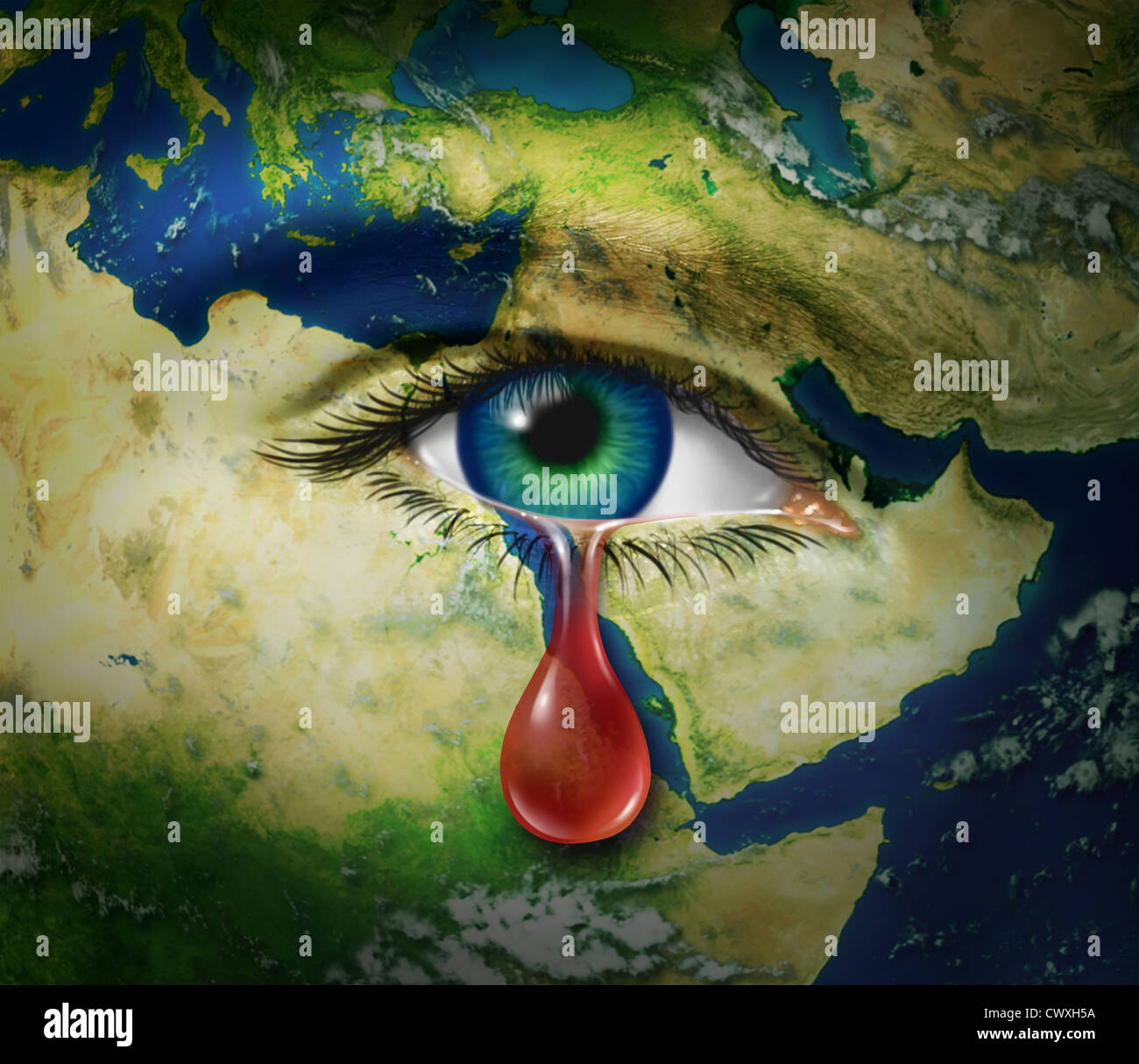 Violence in the middle east as a map of countries as egypt syria violence in the middle east as a map of countries as egypt syria iran israel saudi arabia libya yemen iraq with an eye that is crying a red tear of blood as gumiabroncs Images