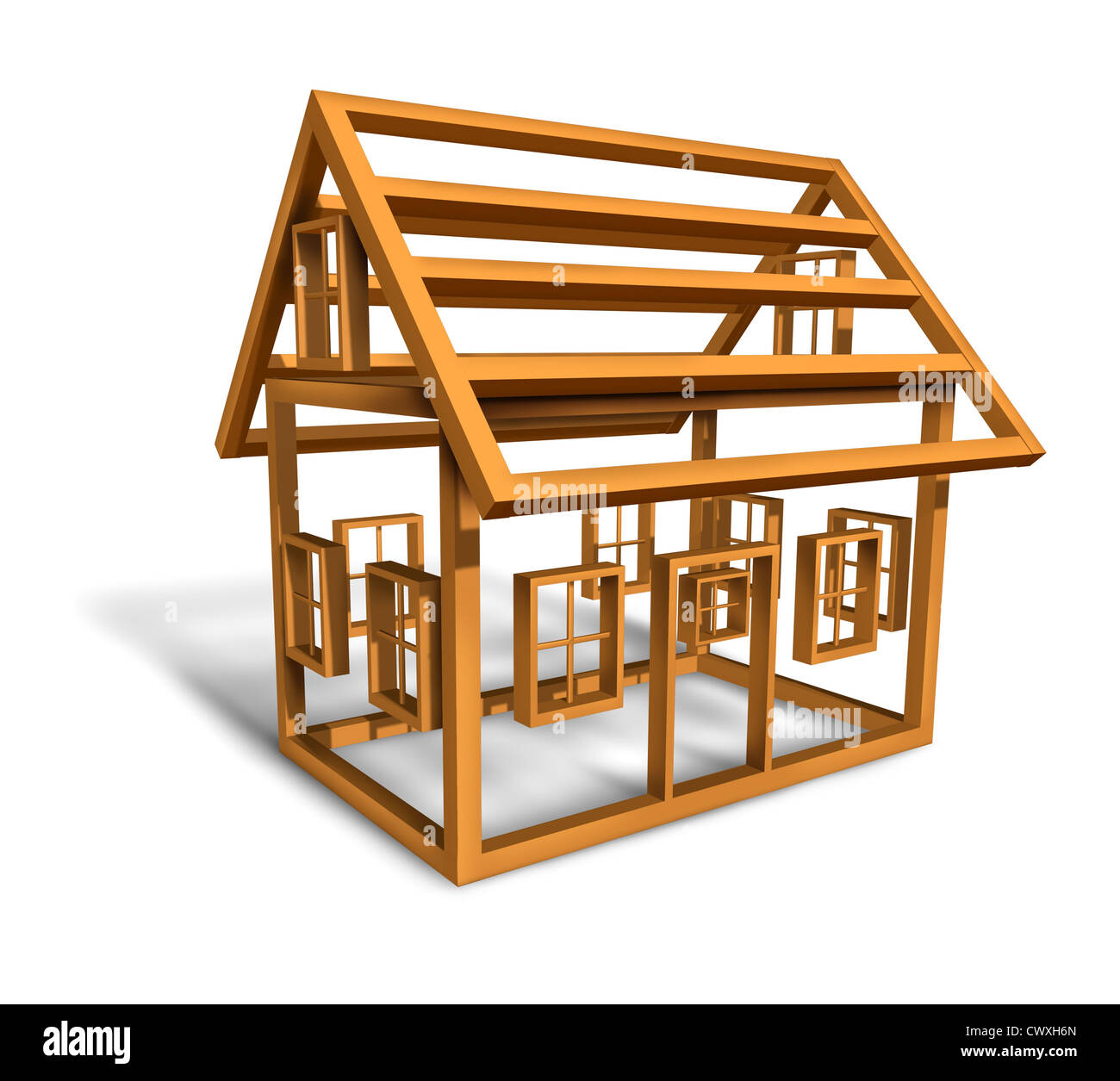 Attrayant Home Construction With The Wood Frame Structure Of A House Being Built In A  Working Site As A Builder Concept For The Housing And Real Estate Industry  On A ...