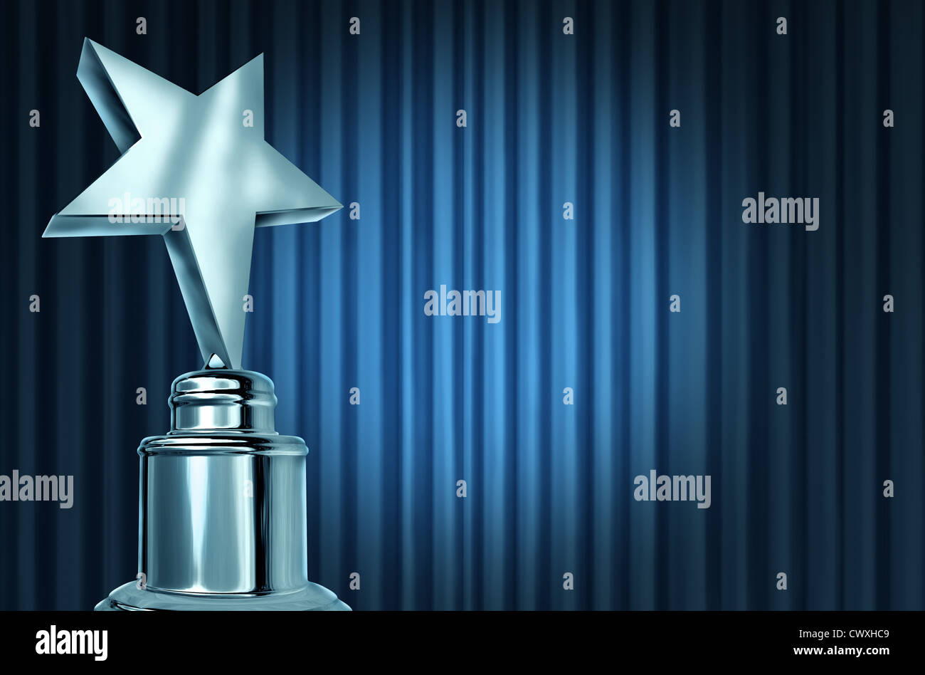 Silver Star Award On Blue Curtains Or Velvet Drapes With A Spot Light Representing An Achievement Trophy Prize Theater Stage During Awards Ceremony