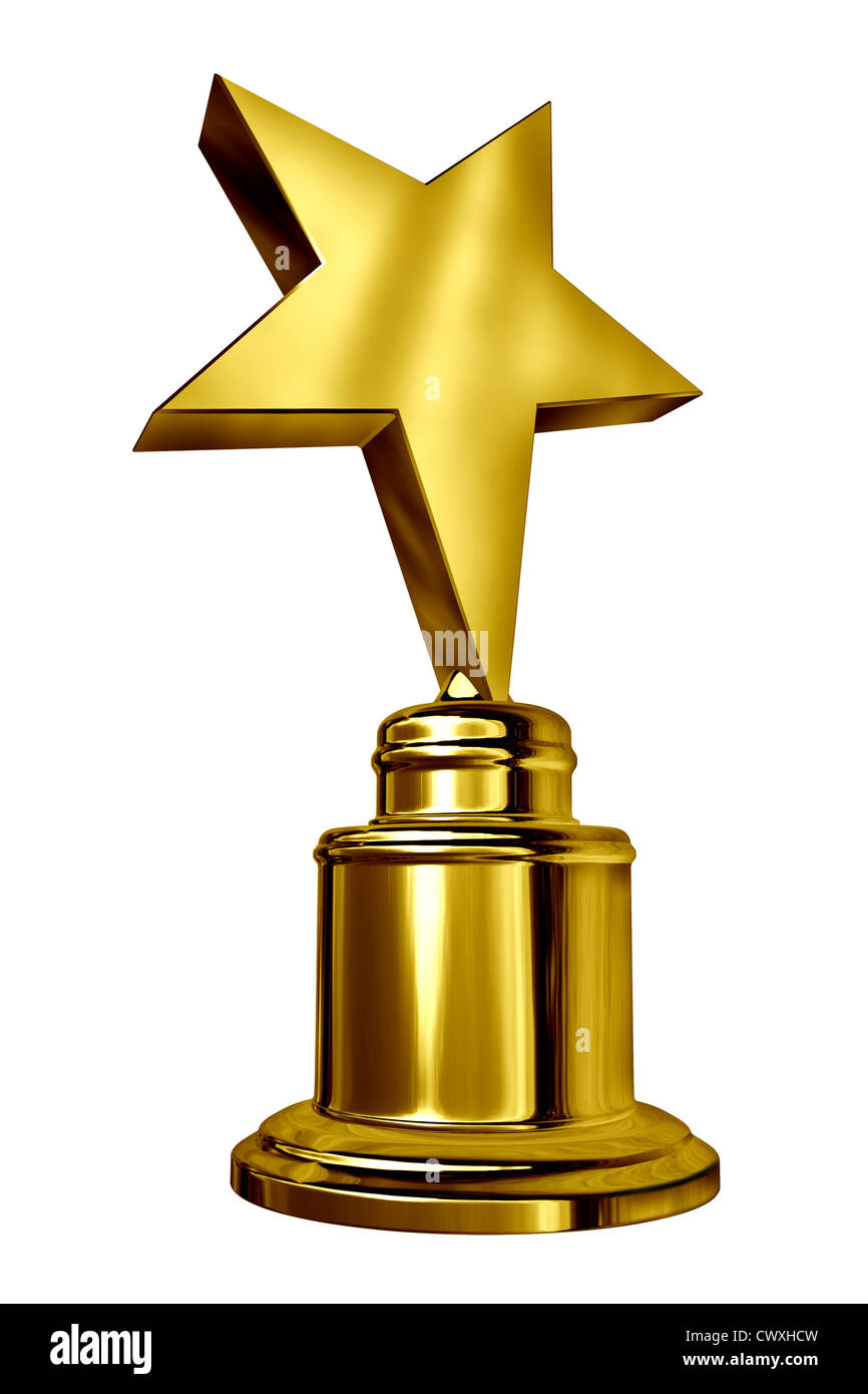 Gold Star Award on a blank metal trophy isolated on white ...
