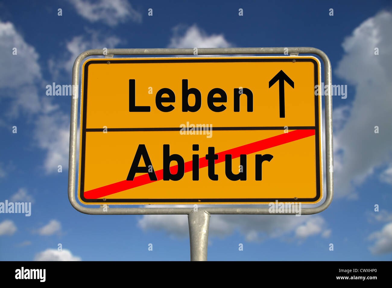 German road sign graduation and life with blue sky and white clouds Stock Photo