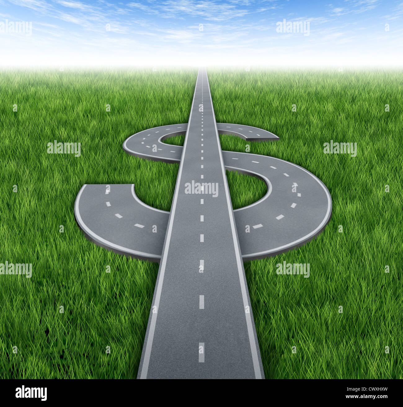 Road to riches as awinning financial concept of making money and acheiving business success with roads and highways - Stock Image