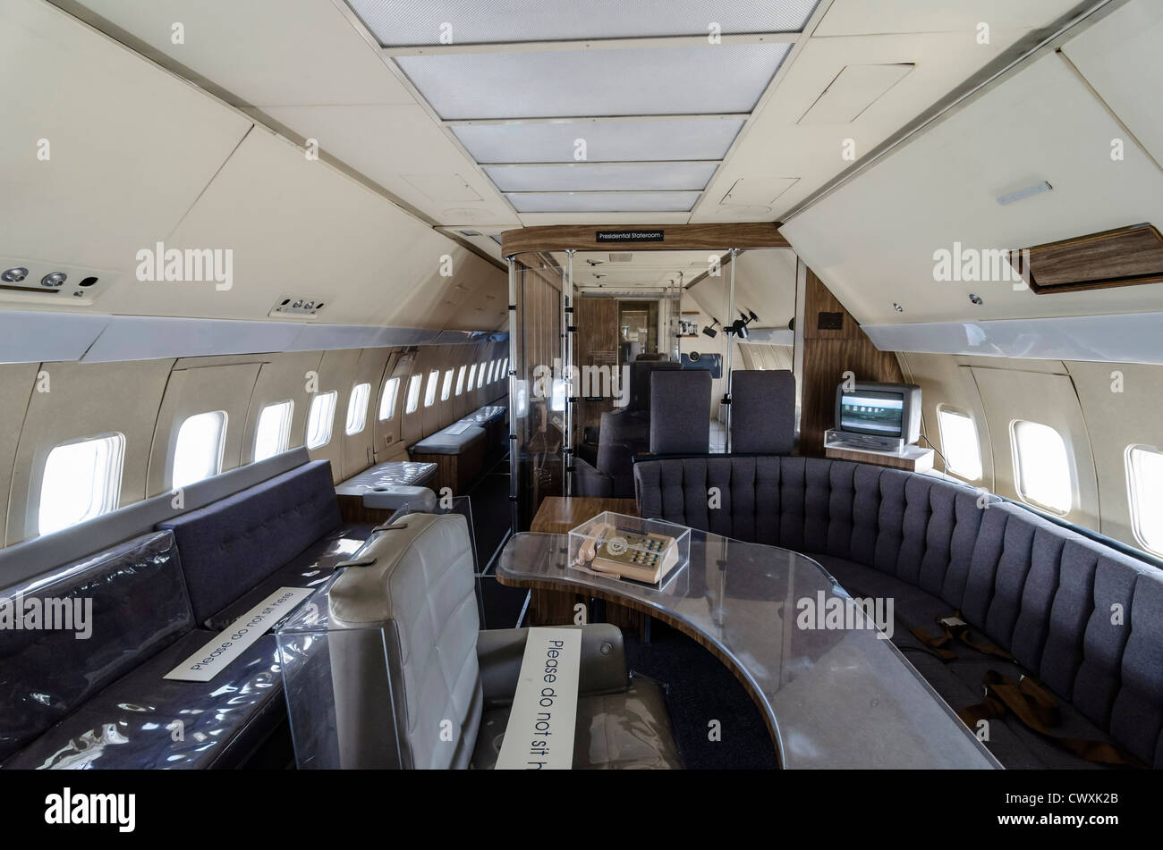 Inside Air Force One at the Museum of Flight, Seattle, USA - Stock Image