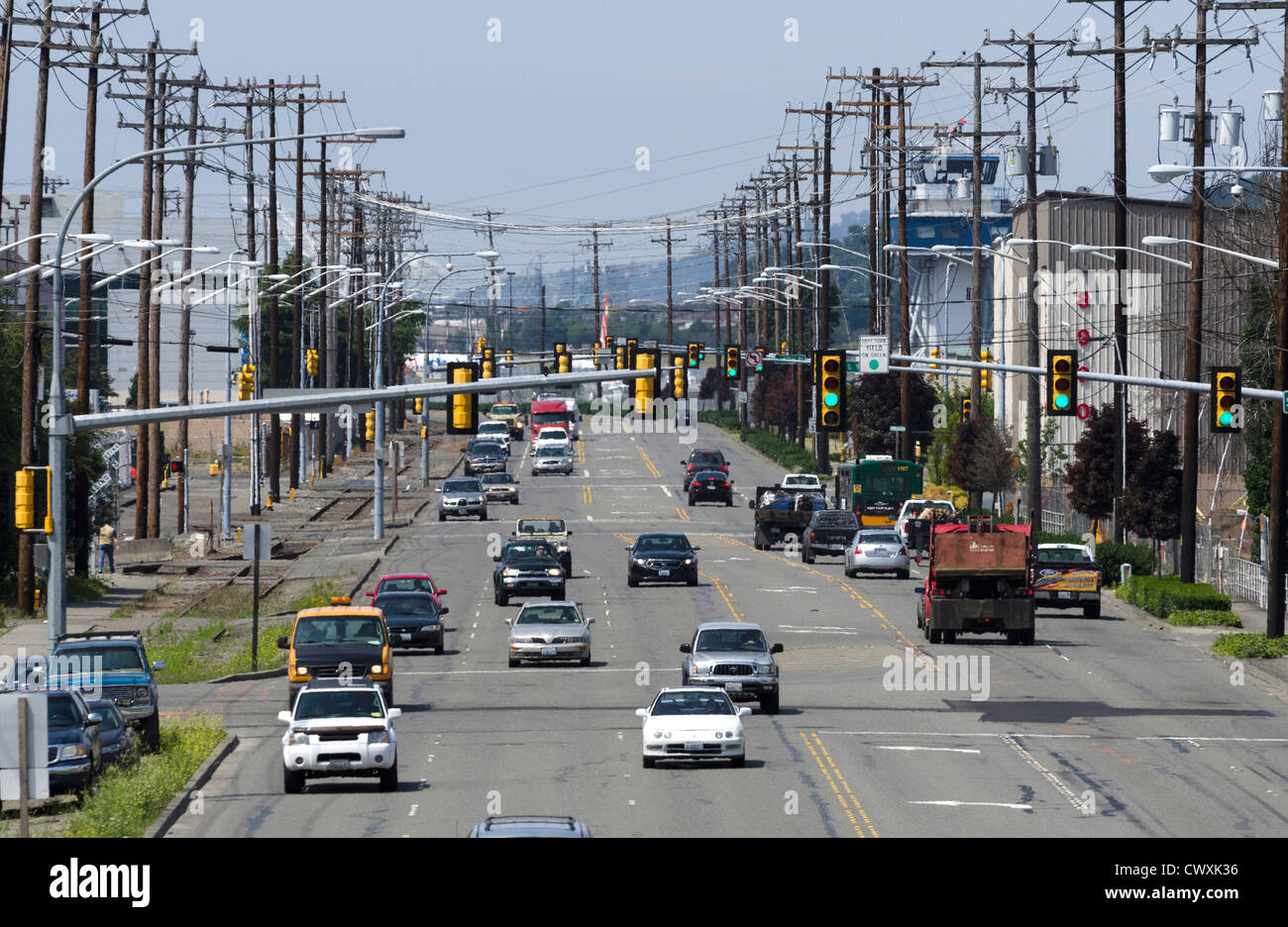 USA : Traffic on the highway in Seattle, USA - Stock Image