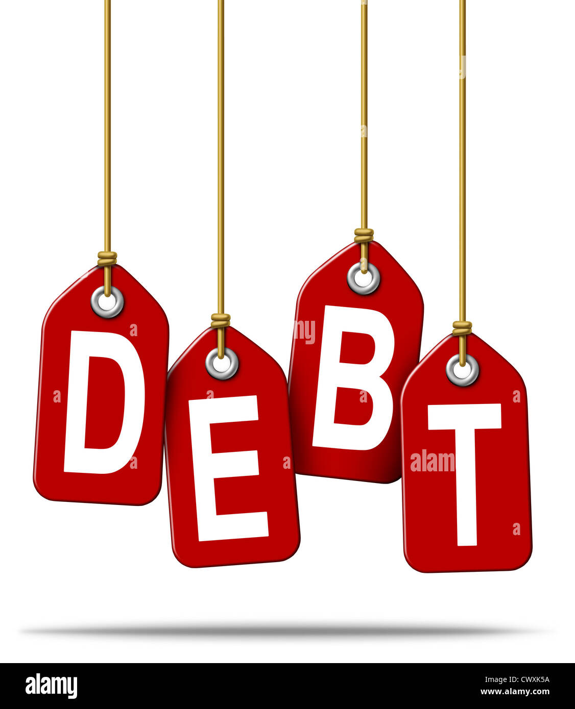 Financial debt money problems concept and over spending using credit cards and borrowing institutions resulting - Stock Image