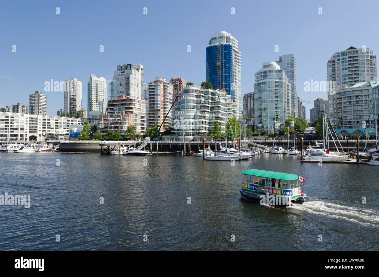 View from Granville Island looking across to downtown Vancouver, Canada - Stock Image