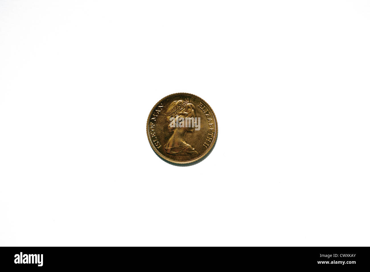 ISLE OF MAN,HALF SOVEREIGN, OBVERSE, GOLD COIN - Stock Image