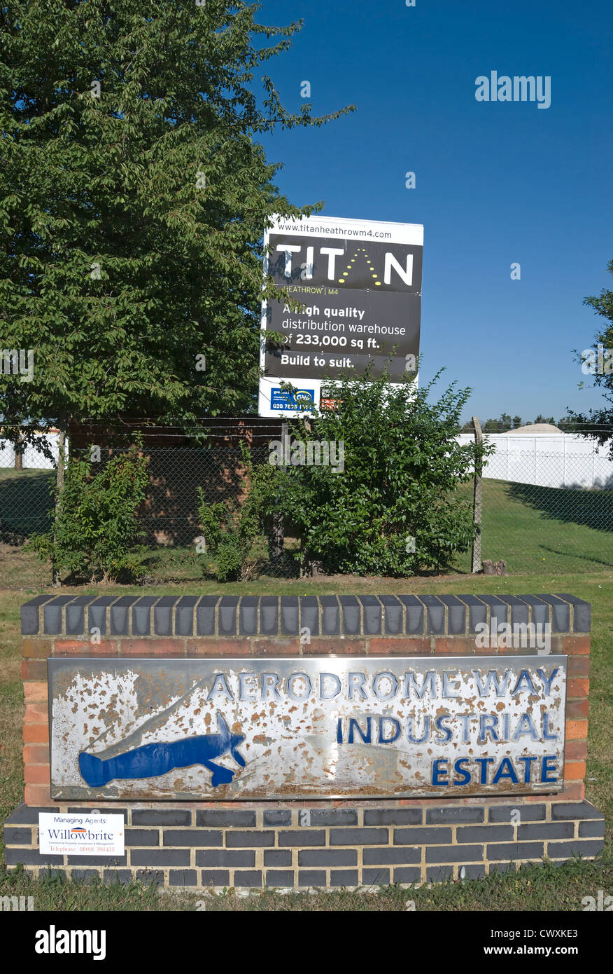 entrance sign for aerodrome industrial estate, cranford, middlesex, england, which occupies the former site of heston - Stock Image