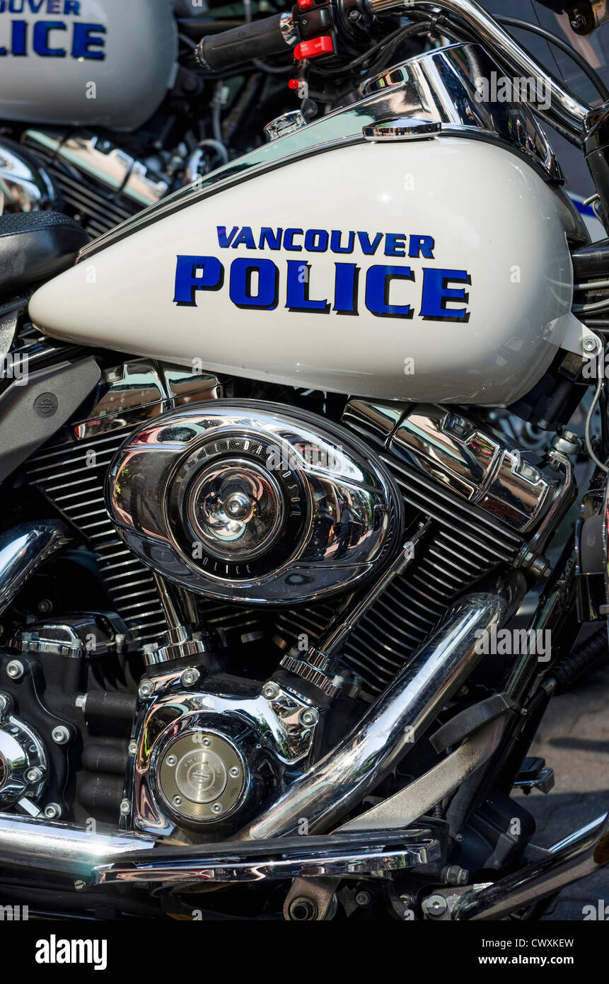 Harley Davidson - the Vancouver Police motorcycles, Canada - Stock Image