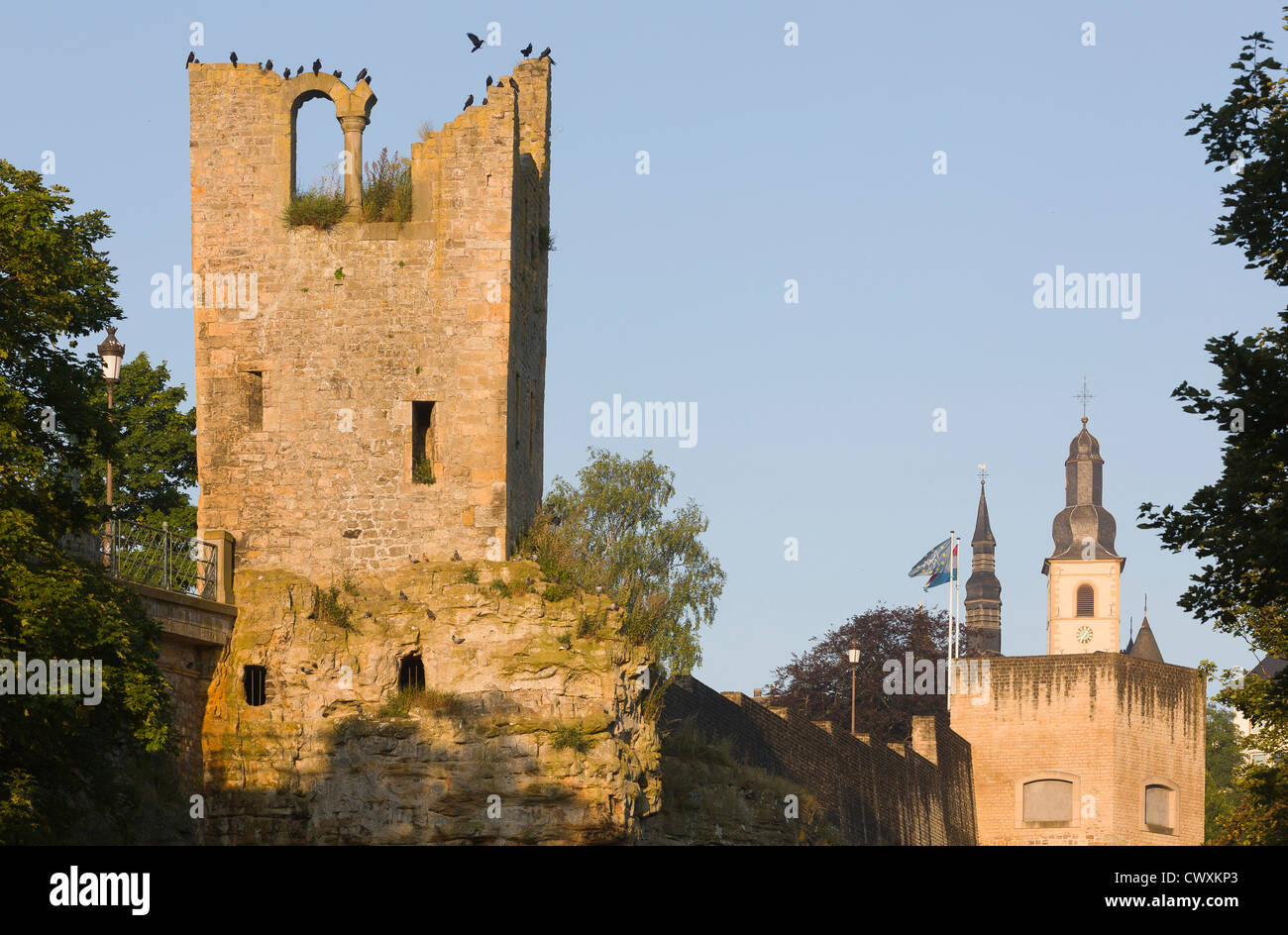 Bock Rock with the Huelen Zand (Hollow Tooth) and Saint Michael's church. - Stock Image