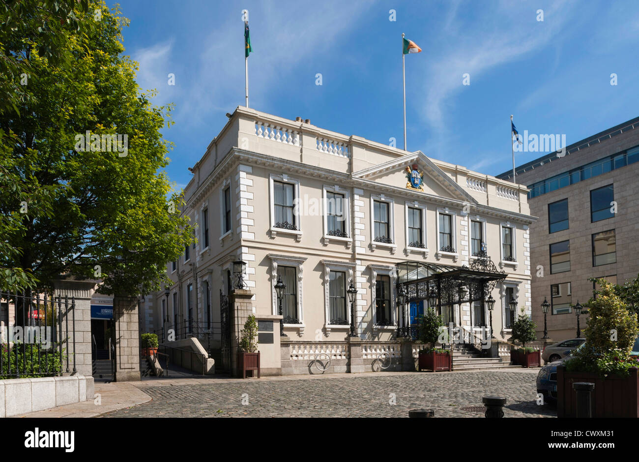 Front of the historic Mansion House, Dublin, Ireland - Stock Image