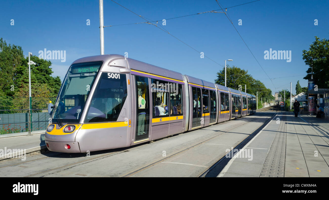 Tram on the LUAS tramline, Dublin, Ireland - Stock Image