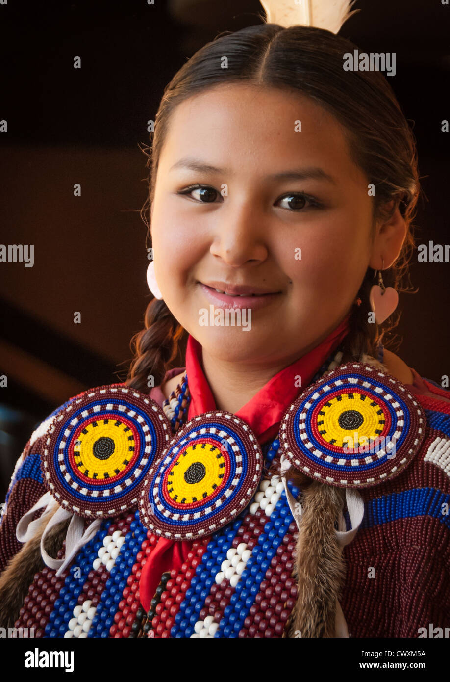 Native American dancer at the annual Lewis and Clark Festival in Great Falls Montana - Stock Image