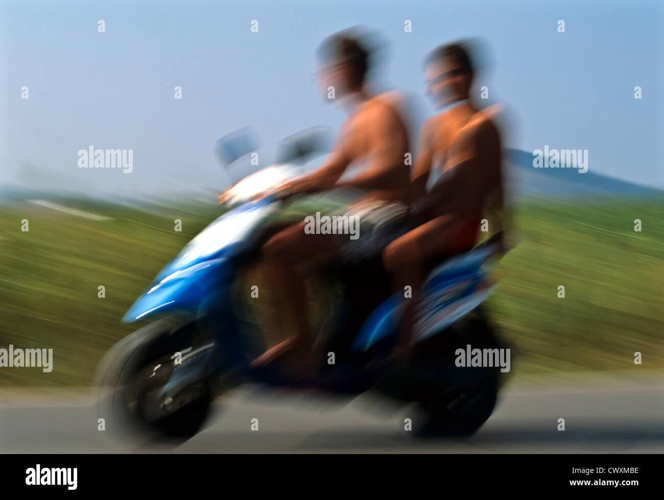 8095. Moped (soft focus), Mediterranean, Europe - Stock Image