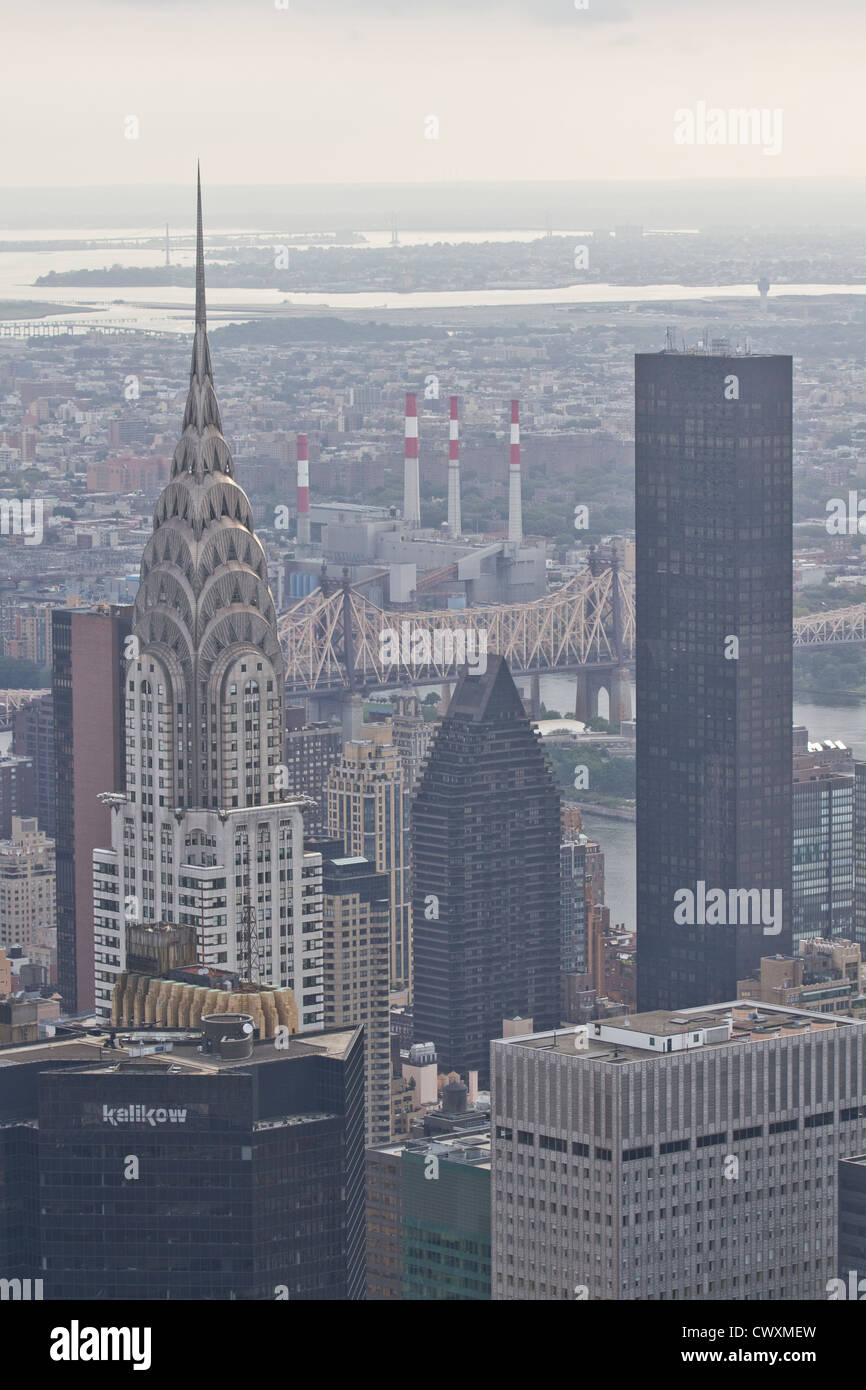 Chrysler building as seen from the observatory at the Empire State building - Stock Image