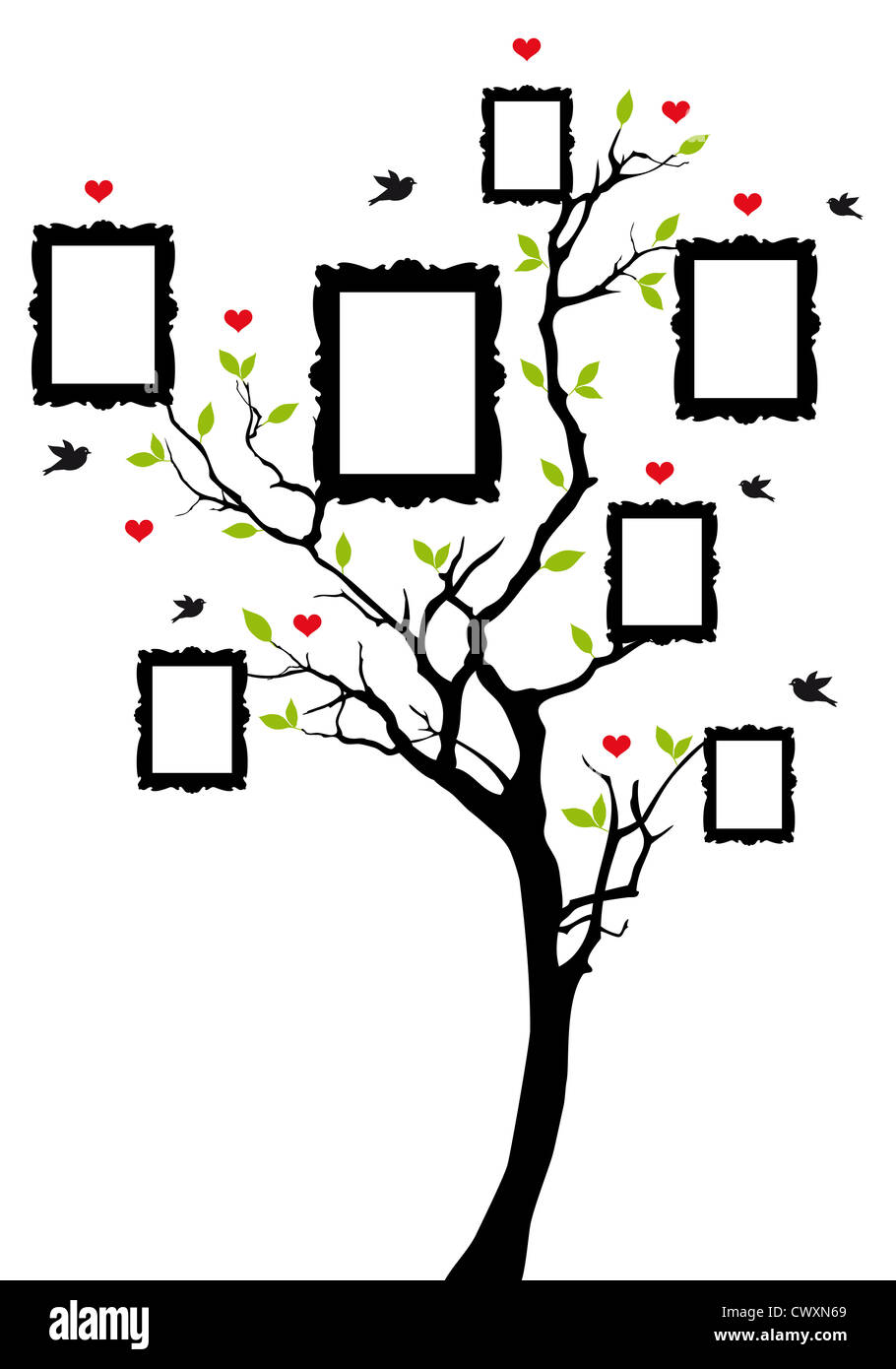 Family tree with picture frames background illustration - Family tree desktop wallpaper ...