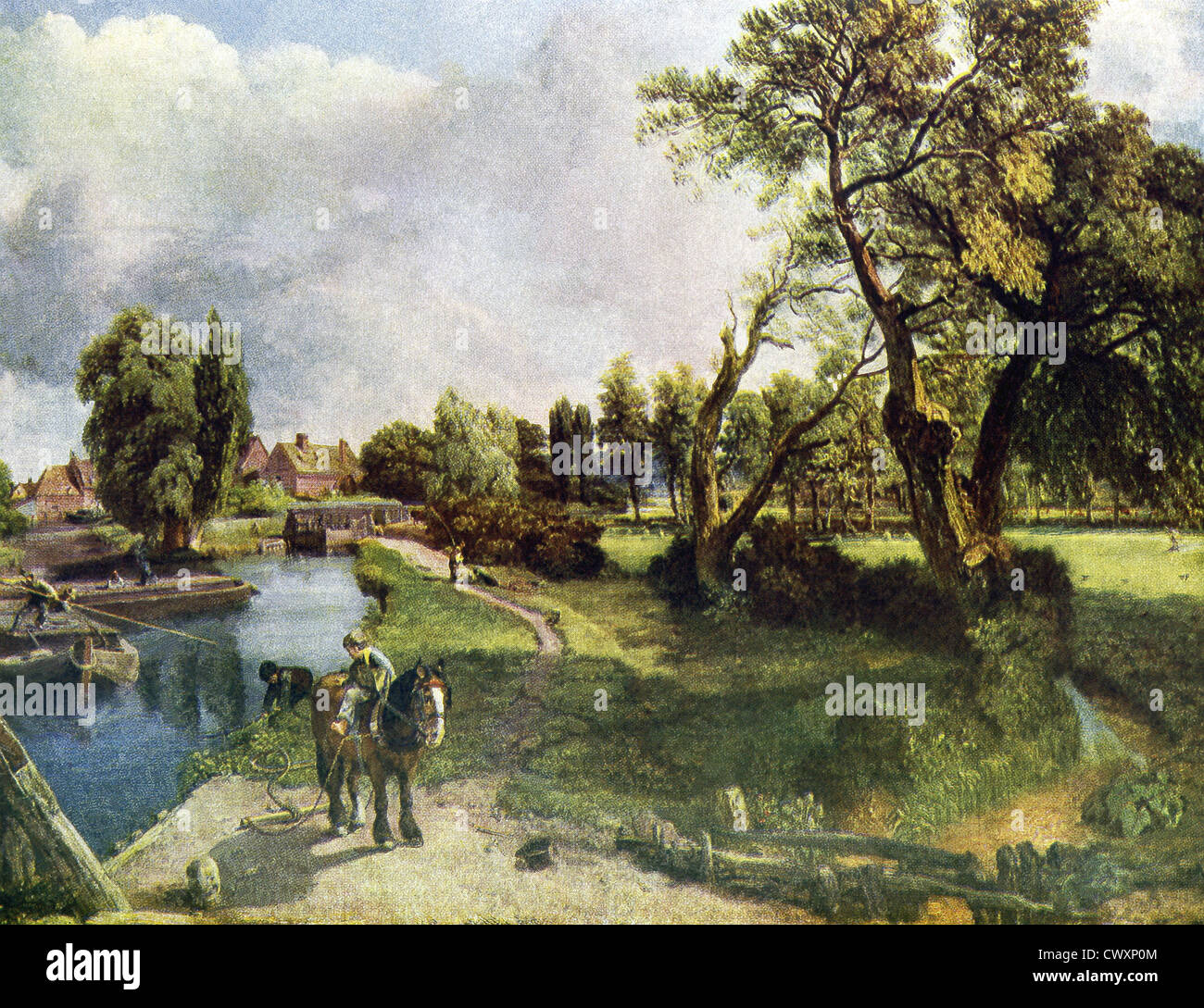 This sketch, titled Flatford Mill on the River Stour, is by John Constable (1776–1837), an English Romantic painter. Stock Photo