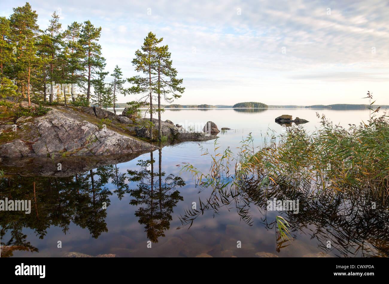 Coastal landscape, Saimaa lake, Karelia, Finland Stock Photo