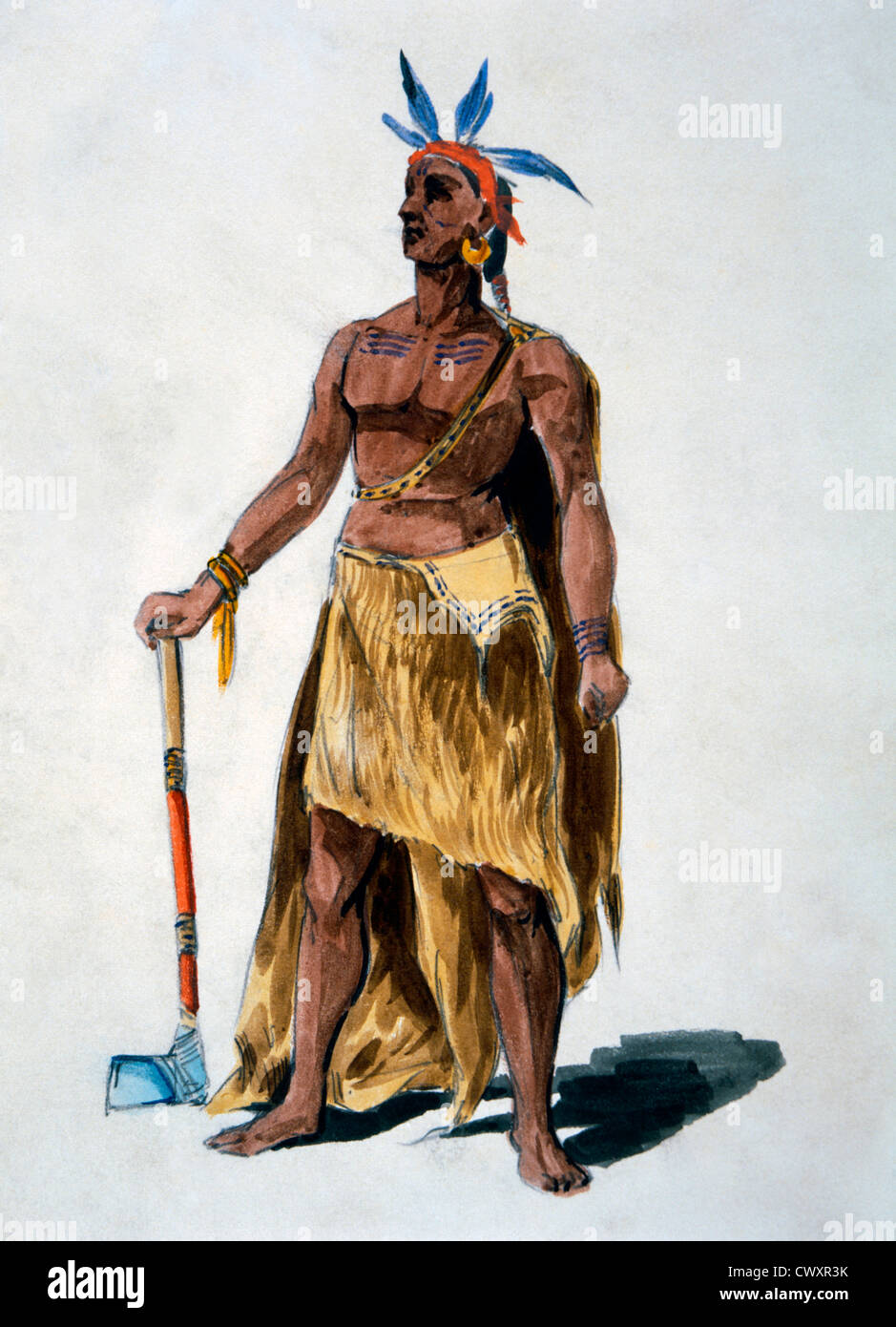 Native American, Watercolor Painting William L. Wells for the Columbian Exposition Pageant, Circa 1892 - Stock Image