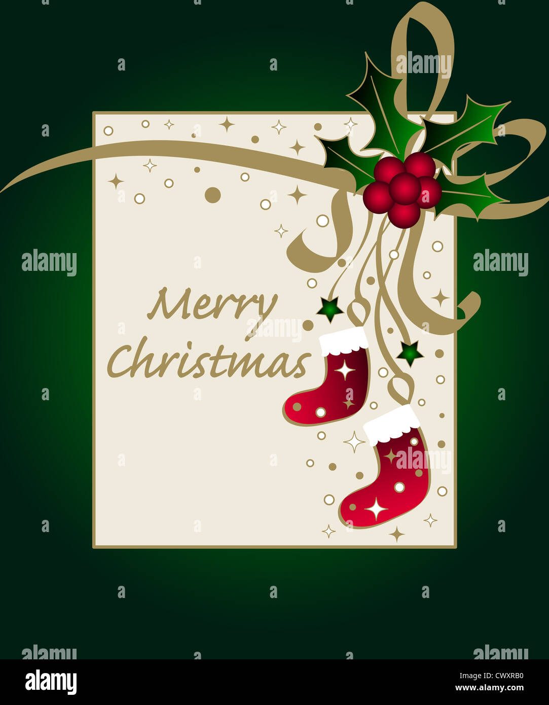 Christmas holly and stockings frame Stock Photo