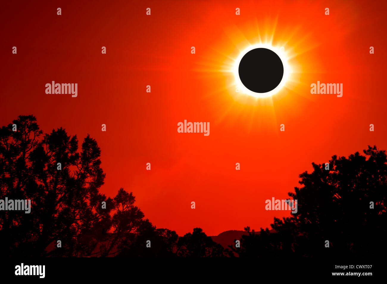 Composite view of annular solar eclipse from off U.S. Highway 89, southern Utah. - Stock Image