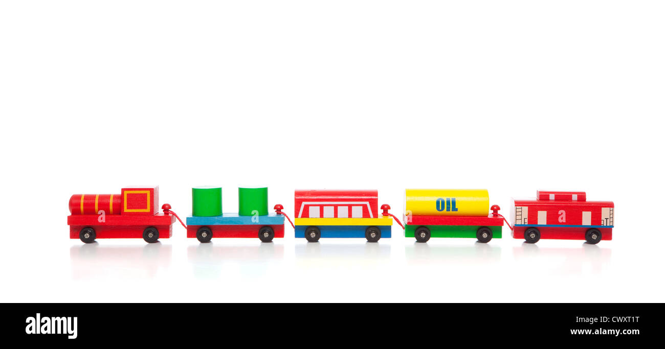 a wooden toy train on a white background with copy space Stock Photo