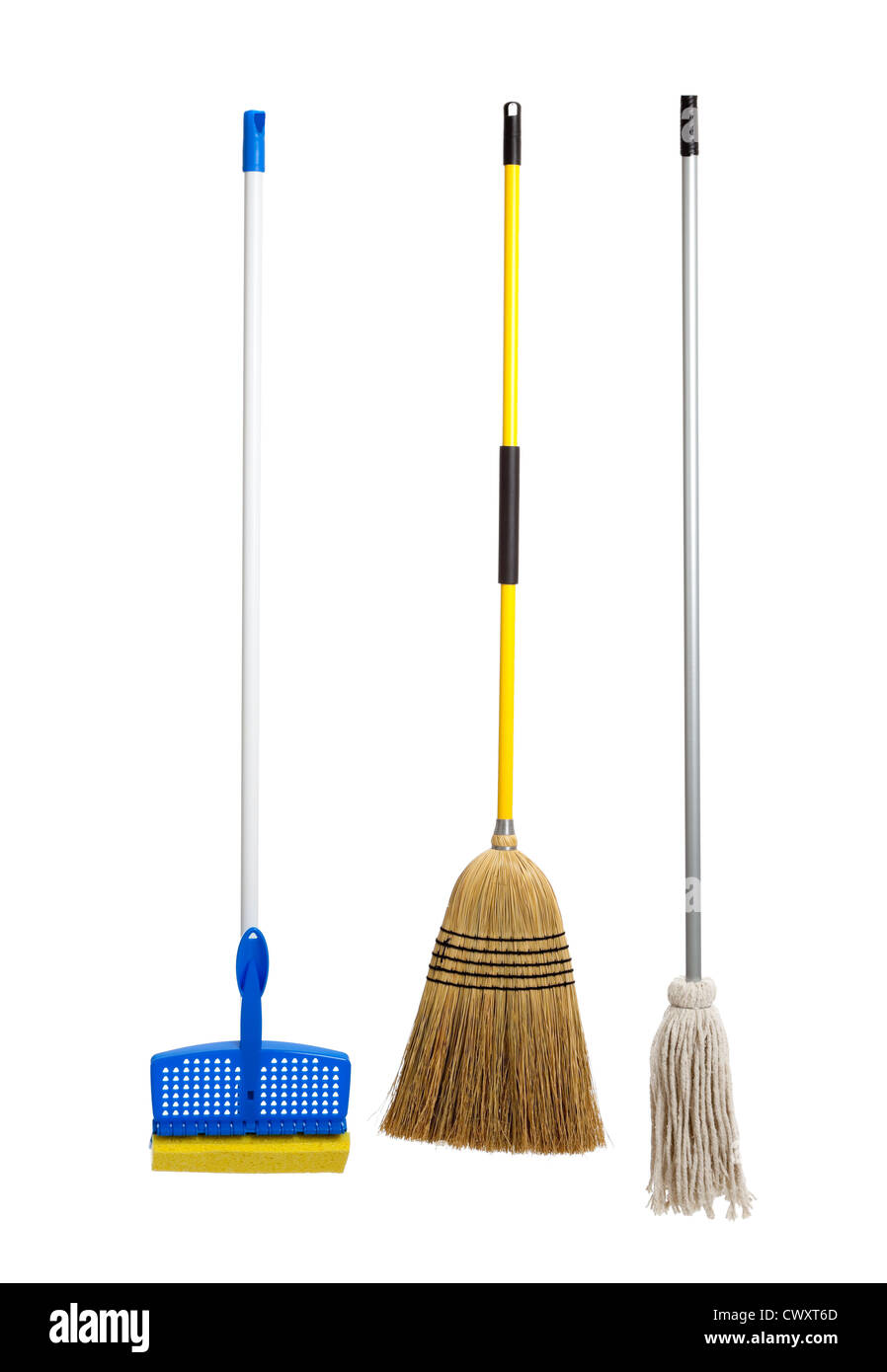 Sponge mop, straw broom and a string mop on a white background - Stock Image